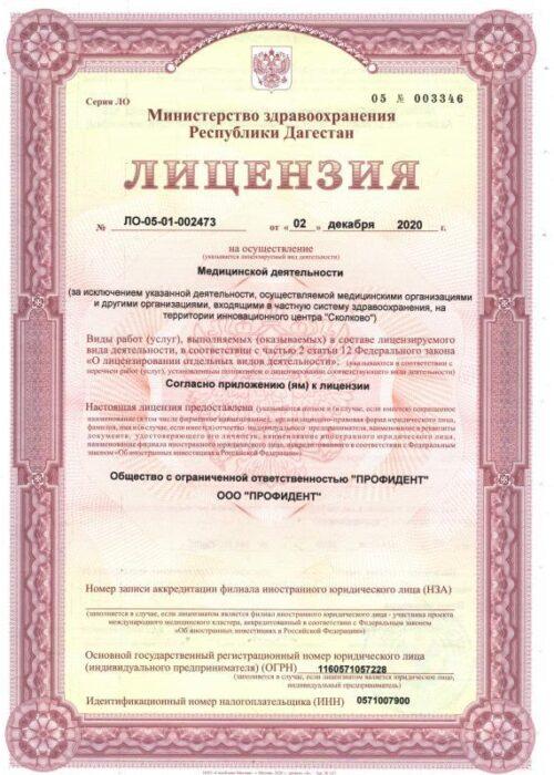 Лицензия на медицинскую деятельность 1